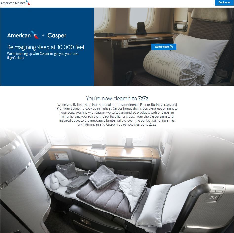 Amercian-airlines-and-Casper-collaboration